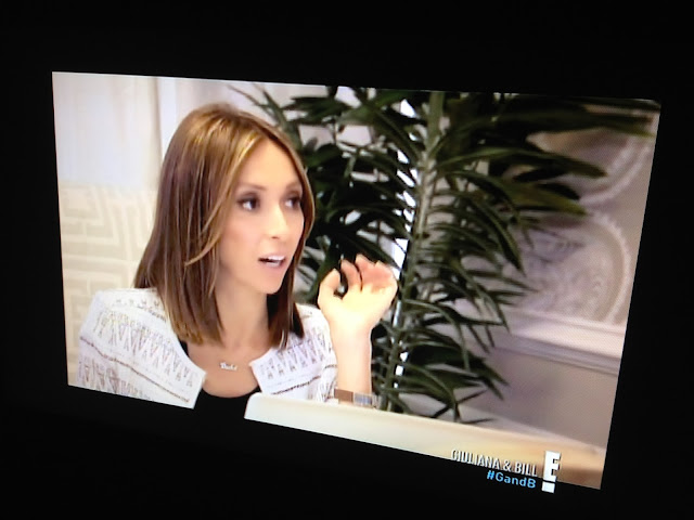 Screen shot of Giuliana & Bill with Giualiana Rancic and a COCOCOZY Logo Throw in Grey on E!
