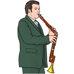 バセットホルンを演奏する男性のイラスト bassethorn player
