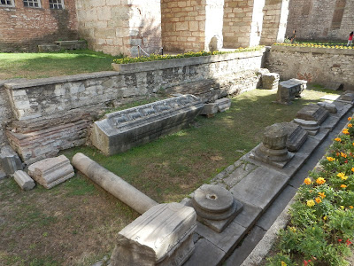 Place of excavations near Hagia Sophia, Istanbul, remnants ancient stone works