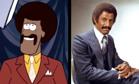 A game show host from Gravity Falls (left), the real-life Ron Burgundy (right)
