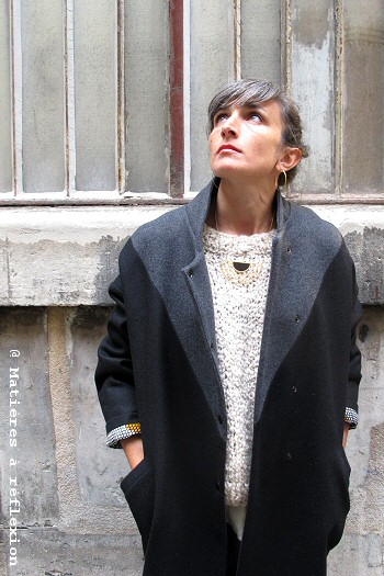 Manteau en laine Paletot bicolore Matières à réflexion