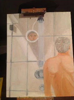Painting of man in shower. Description follows in caption.
