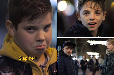 The young boys reaction when they were asked to slap Martina