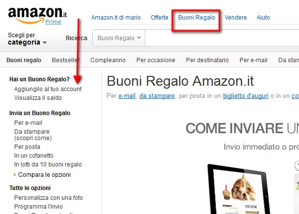 Amazon: come aggiungere i buoni regalo