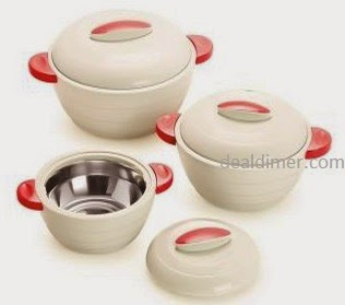 Cello Stainless Steel And Plastic Polyproplene Elegant Casserole Set (3 Pcs)