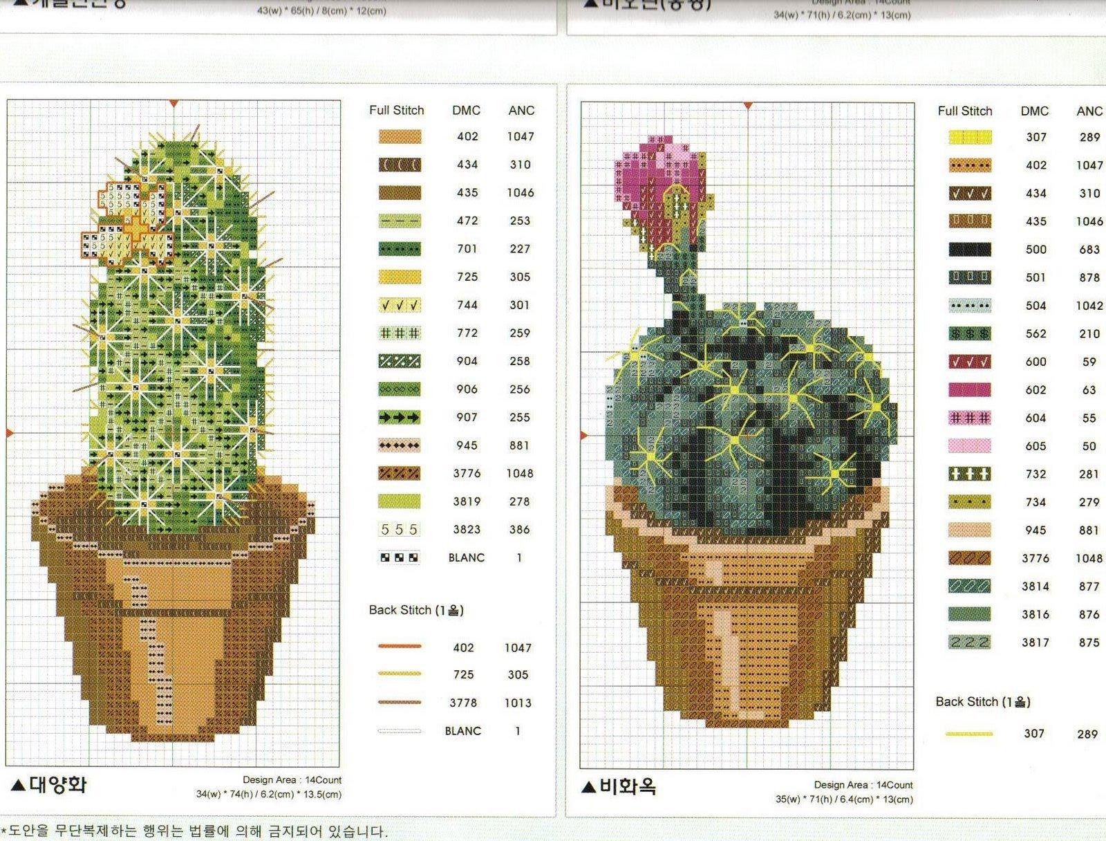 cactus bordados punto de cruz