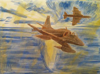 Óleo de Skyhawks de la Marina Argentina en Malvinas 2