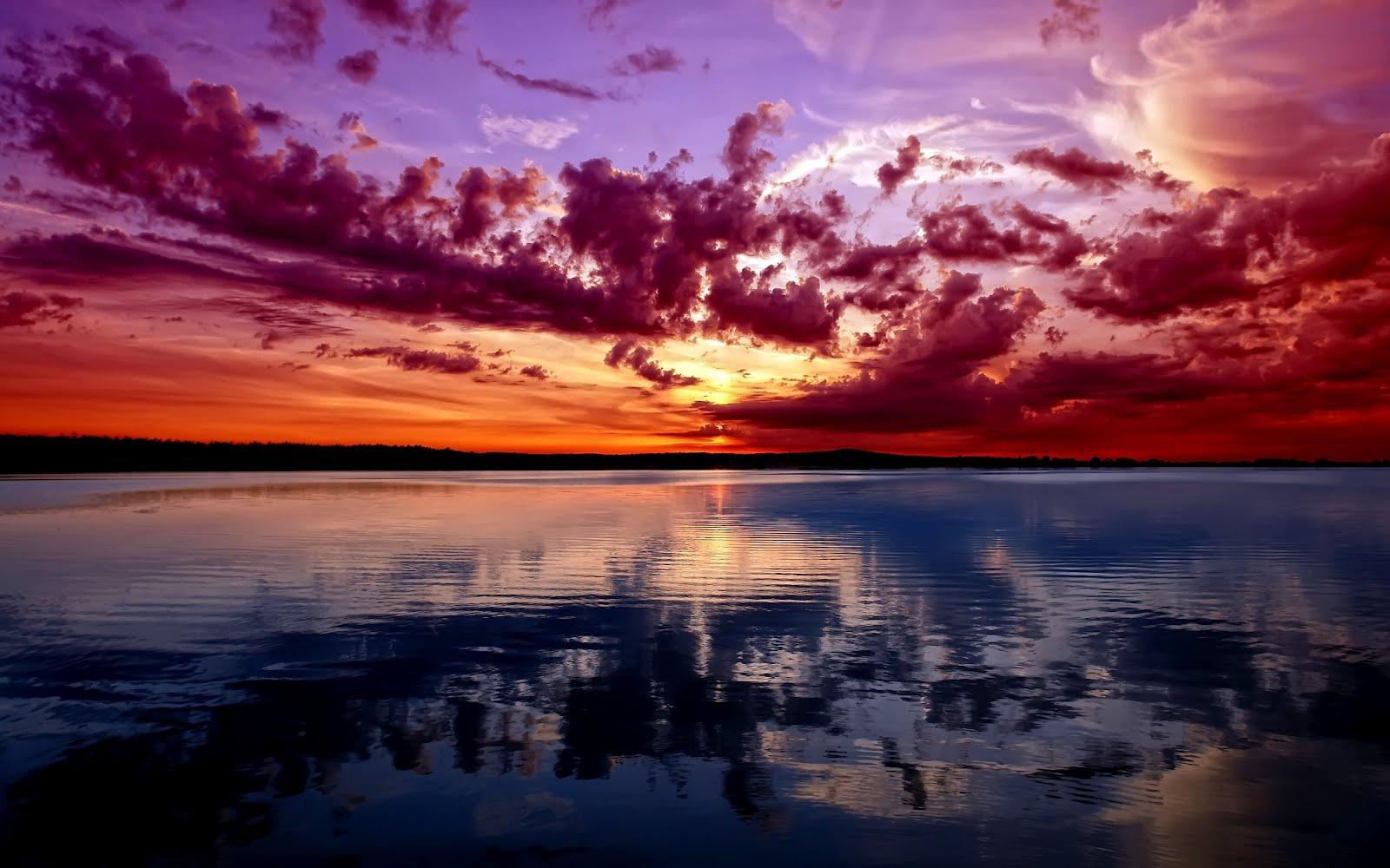 Прекрасен залез над езеро, HD Wallpaper