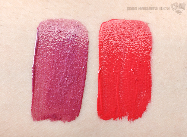 Rimmel Apocalips Lip Lacquer -Swatches (L-R) Galaxy, Stellar