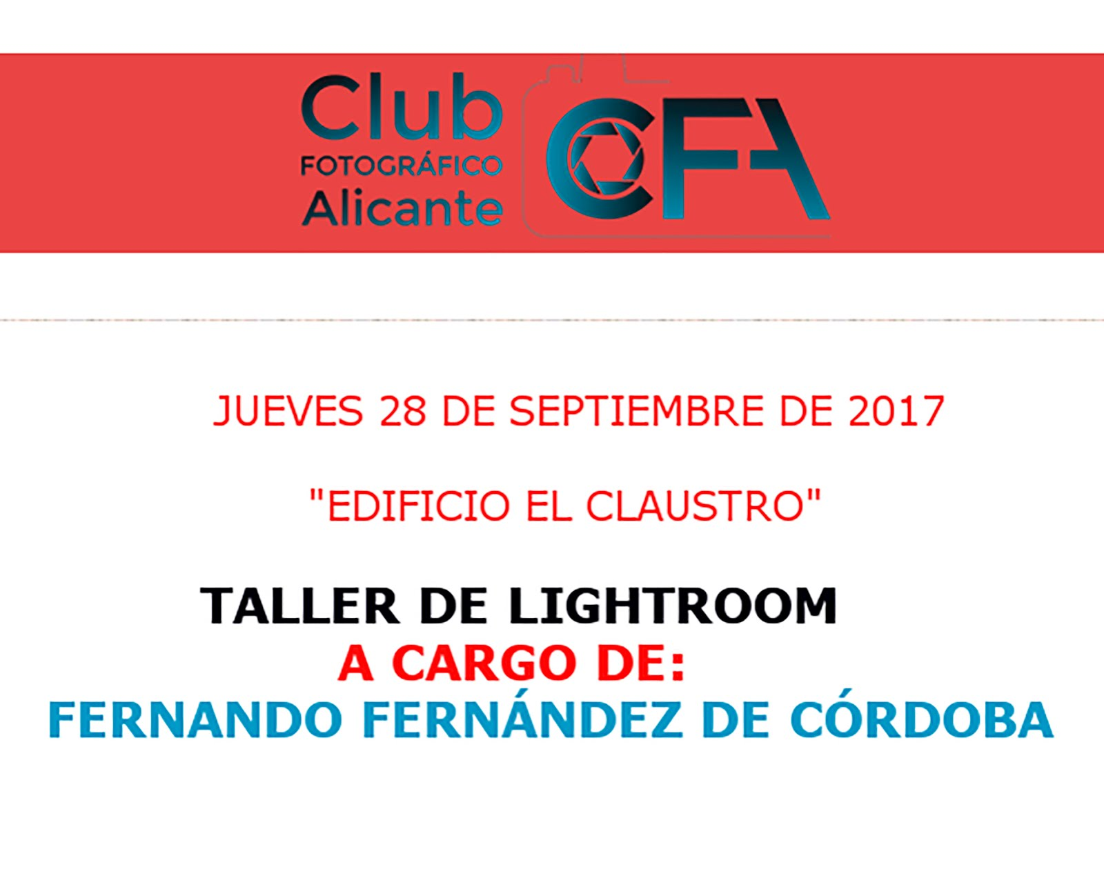 TALLER DE LIGHTROOM