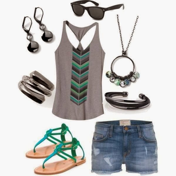 Grey Vest, shorts, sandals and other accessories for summer fashion