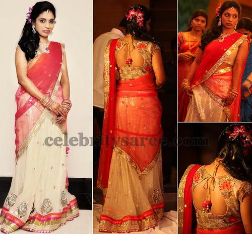 Bride in Bhargavi Kunam Half Saree