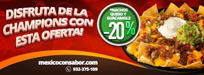 oferta de nachos con queso y guacamole