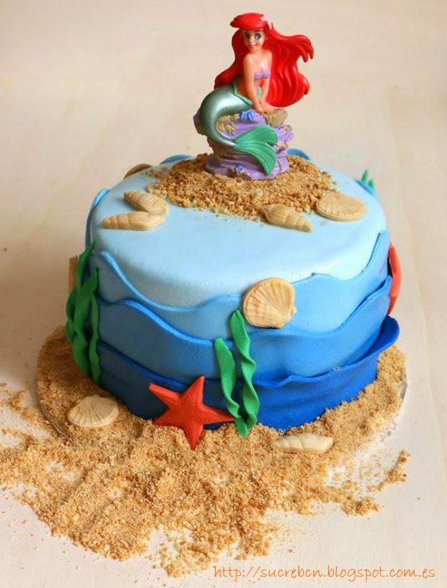 Tarta fondant fondo del mar, Pastís fondant fons del mar, la Sirenita Ariel