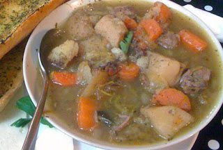 Image of Welsh Cawl, lamb and vegetable broth, a traditional starter for St David's Day
