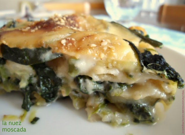 lasagne integrali di kamut con zucchine, spinaci e fagiolini - lasaña integral de kamut con calabacín, espinaca y judía verde