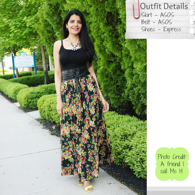 ASOS floral maxi skirt, ASOS Skirts, Floral Maxi Skirts, Pleated Maxi Skirt, Neon Sandals, ASOS Obi Belt