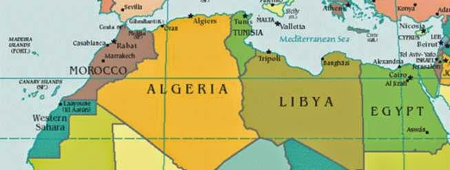 Politcal Map of North Africa showing Western Sahara, Morocco, Algeria, Tunisia, Libya, and Egypt.