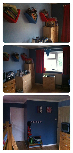 red, white and blue themed bedroom