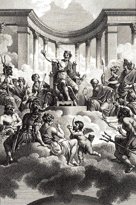 Los dioses olímpicos por Monsiau, finales del siglo XVIII.