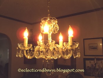 Eclectic Red Barn: Chandelier cleaned with lens cleaning towelettes