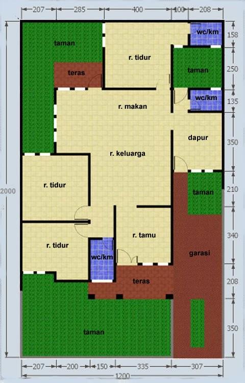 contoh denah rumah sederhana type 140 m2 tanah 240 m2
