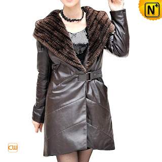 Brown Hooded Leather Coat