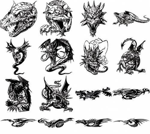 Dragon Tatoo Vector Pack