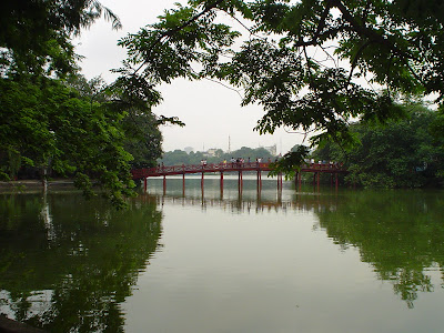 Huc Bridge over Lake Hanoi, Vietnam