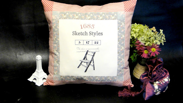 Декоративная подушка в стиле ретро: мелкие цветочки на сером фоне, розовые полоски и горошки. Винтажный интерьер - старинный стул
