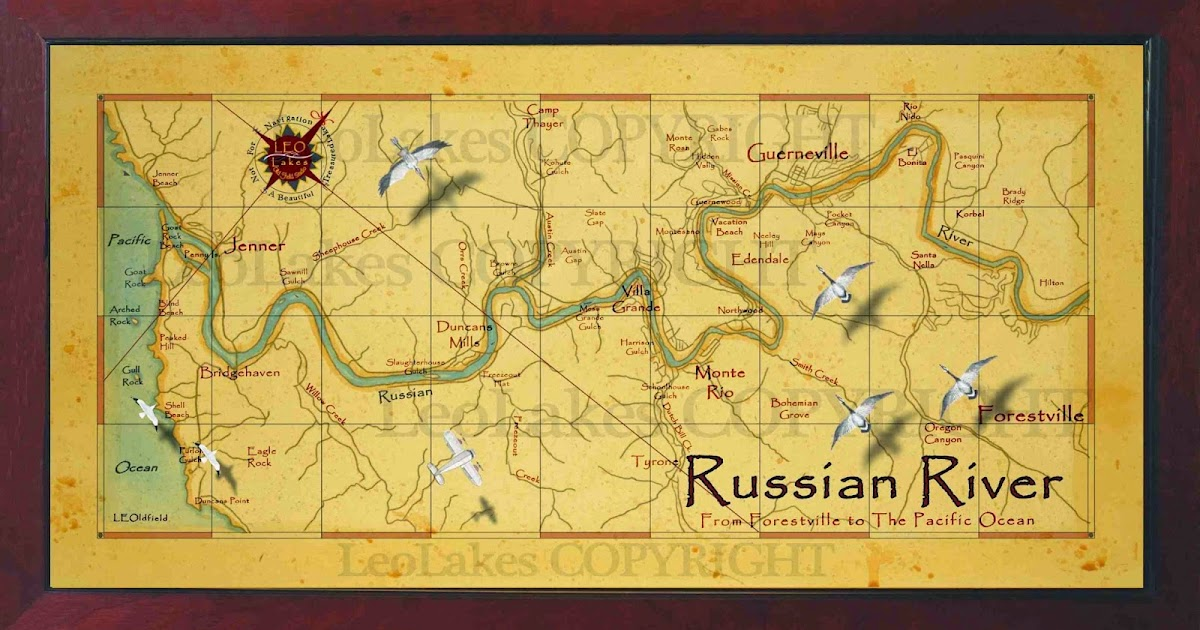 Old field studio russian river vintage style map for Russian river fishing