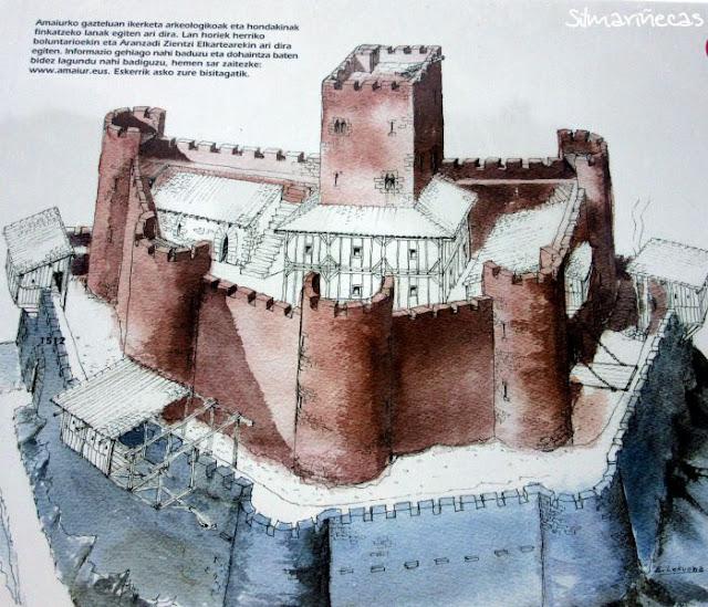 ilustración con la recostrucción del castillo de Amaiur-Maya, Baztán Navarra