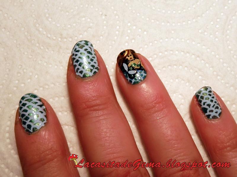 La casita de Gema: Tutorial uñas (Nail art) Nº63 Sirena Mermaid