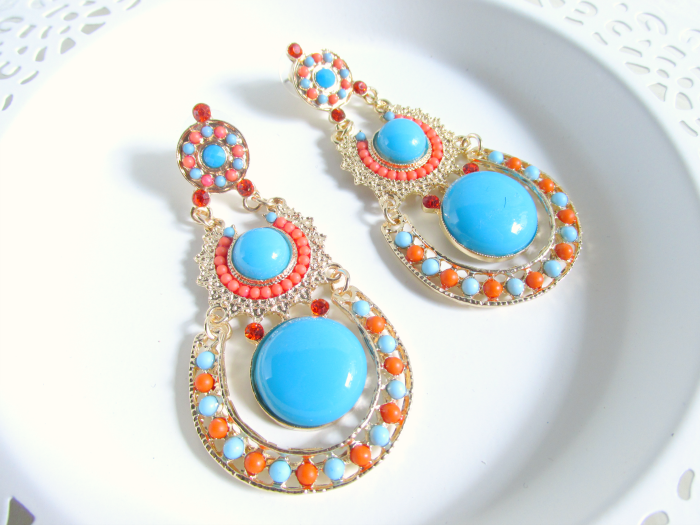 MyVintageSpirit - Gold, Orange & Blue Boho Dangle Earrings