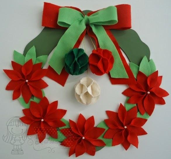 Artesanato De Natal Em Feltro ~ Eu Amo Artesanato Guirlanda de natal de feltro