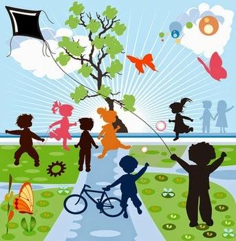Playing children, happy Children, fresh and green