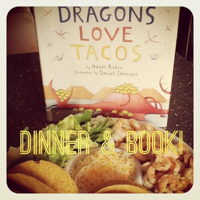 books to belly; dragons love tacos & shrimp tacos