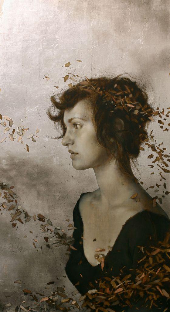 Brad Kunkle mulheres hiper realistas pinturas a oleo prata e ouro