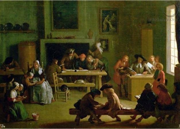 Interior de una escuela. Miche Ange Houasse 1680-1730