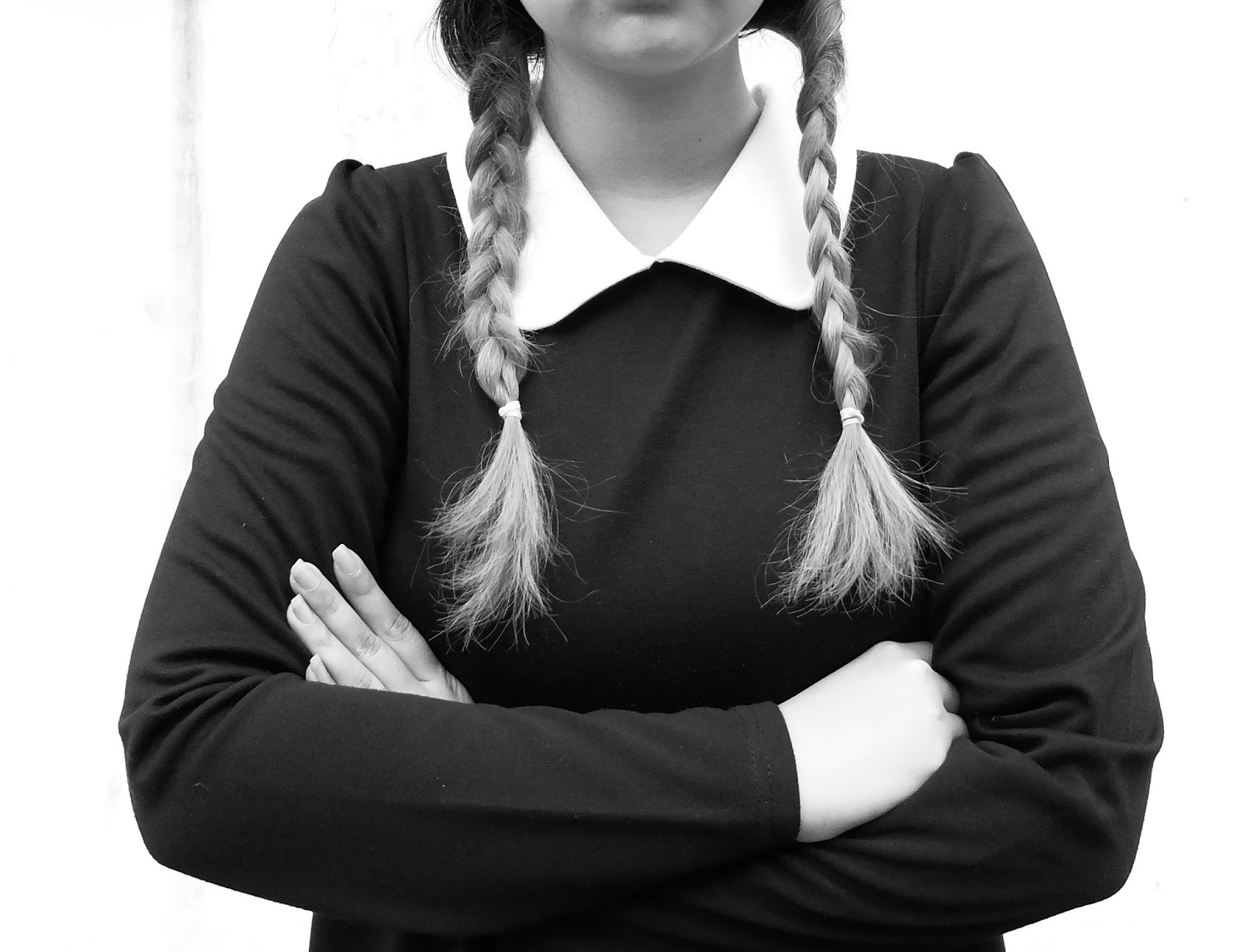 braids, black and white, wednesday addams