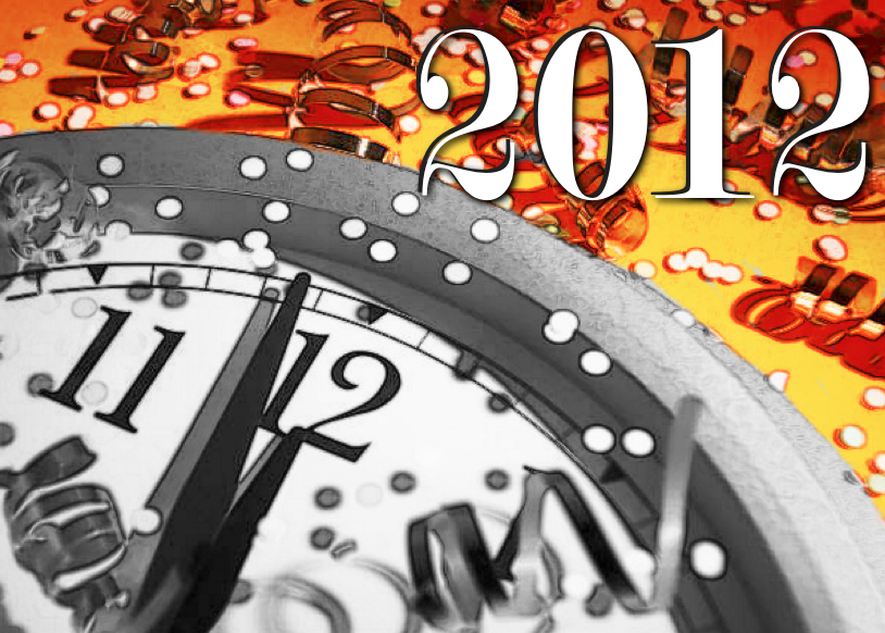 Happy New Year 2012 with clock and serpentine and festive decorations
