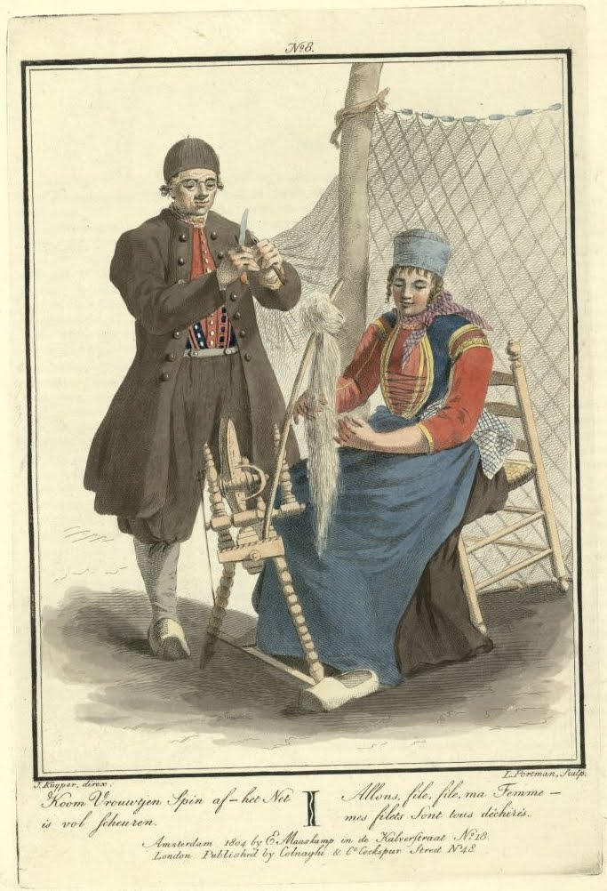man stands mending net; seated woman spins yarn (coloured engravings of Dutch customs 1803)