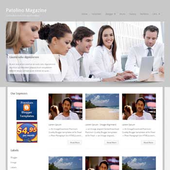 Patolino Magazine blogger template. seo blogger template. magazine style template blogspot. download 3 column footer blogger template