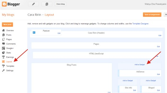 Langkah-langkah memasang Widget Alexa Rank di Blog