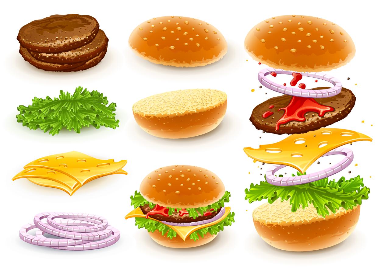 ハンバーガーと具材のクリップアート cheese hamburgers イラスト素材