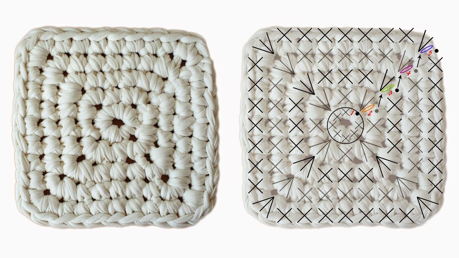 patrón base cesto cuadrado trapillo