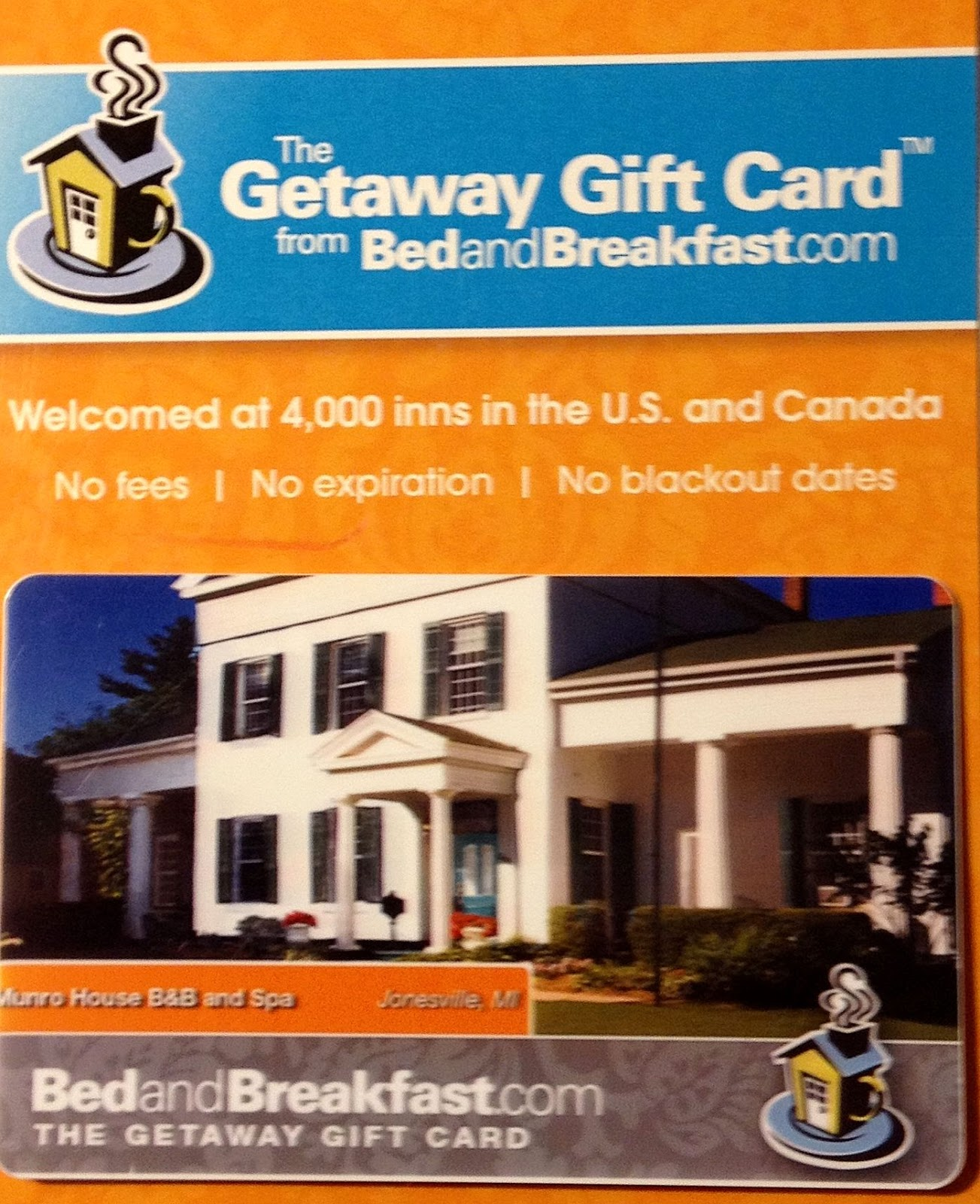 Bed and Breakfast Gift Card for Christmas
