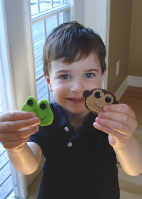 funny felt for kids: monkey and frog hair clips tutorial