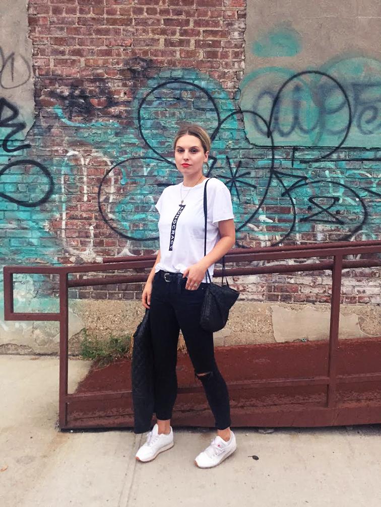 ASOS jeans, Reebok Classic sneakers, Kaylee Cho tee, Bottega Veneta crossbody bag