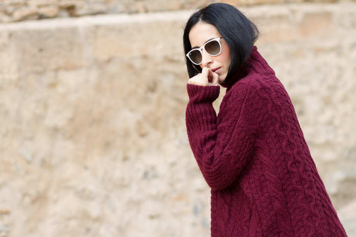 Fashion Blogger maxi turtleneck burgundy knitted withorwithoutshoes Ray-Ban Erika